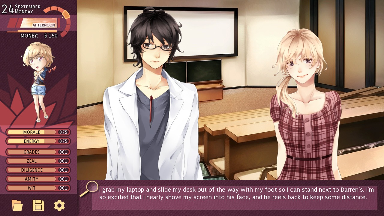 Dating sim about girl who can read minds